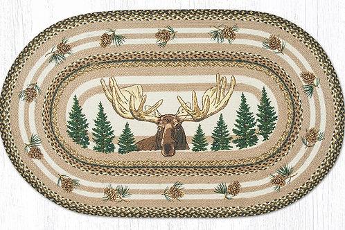 Earth Rug Hand Stenciled Braided Cabin Lodge Bull Moose Rug