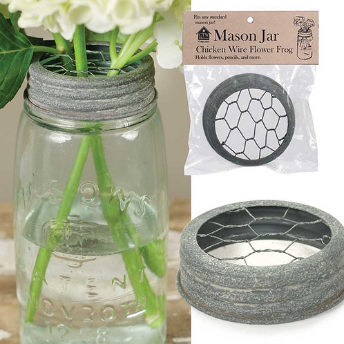 Mason Jar Flower Frog Lid – Barn Roof