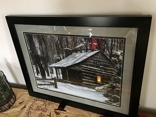 Wood & Glass Beautifully Matted Lighted Framed Cabin With Timer