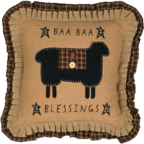 COUNTRY PRIMITIVE HERITAGE FARMS BAA BAA BLESSINGS PILLOW 18 X 18