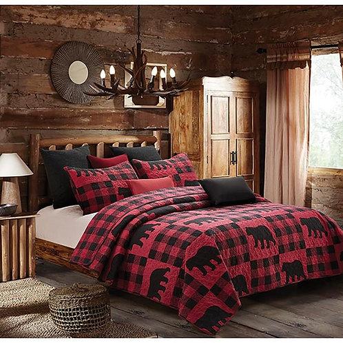 Buffalo Bear Plaid Red Queen/Full Quilt Set