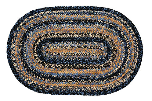 Country Primitive IHF River Shale 20 x 30  Oval Braided Jute Rug