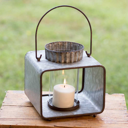Rustic Large Jonah Candle Lantern with Glass & Candle