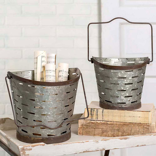 Set of Two Metal Olive Buckets
