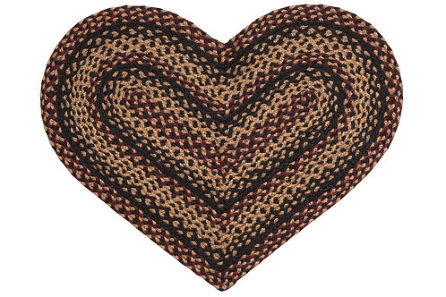 Country Primitive Braided Jute Rug India 20 x 30 Heart Blackberry