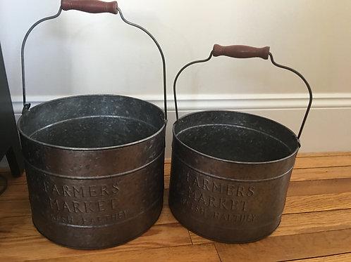 Galvanized Metal Farmers Market Buckets w/ Wooden Handle