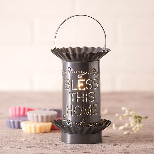 Irvin's Tinware Mini Wax Warmer with Bless in Country Punched Tin