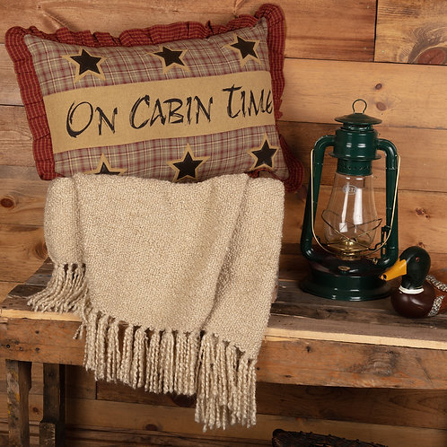 VHC MOUNTAINS DAWSON STAR ON CABIN TIME PILLOW 14 X 22