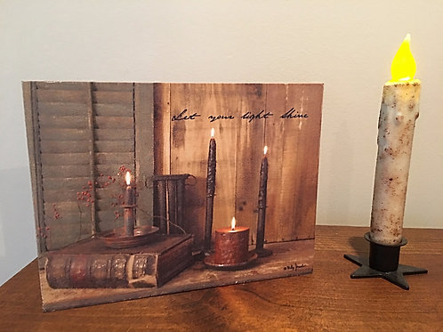Let Your Light Shine Billy Jacobs Wood Sign Block