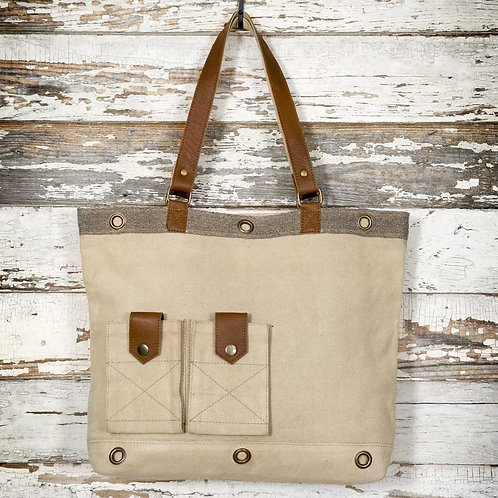 Casual Canvas and Leather Tote Bag