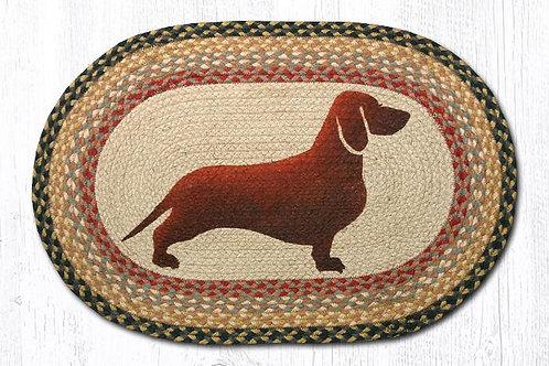 Earth Rug Jute Hand Stenciled Dachshund Wiener Dog Brown