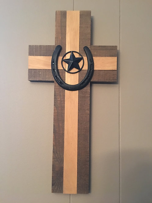 Western Wooden Cross with Horseshoe and Star