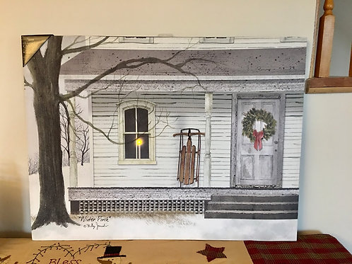 Lighted Large Winter Porch Canvas Billy Jacobs