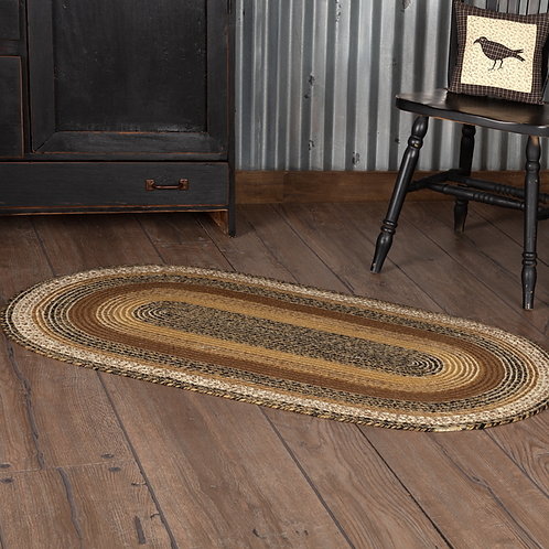 PRIMITIVE COUNTRY KETTLE GROVE JUTE RUG OVAL