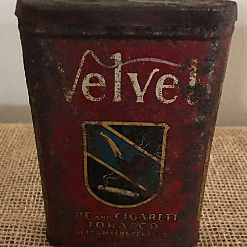 Antique Vintage Velvet Tobacco Can