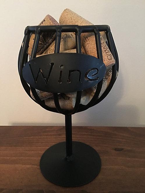 Wrought Iron Wine Cork Holder Glass- Amish Made