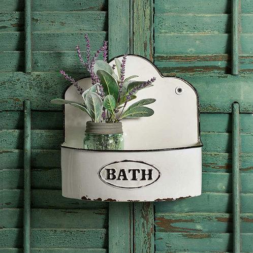 White Enamelware Metal Farmhouse Bowed Bath Wall Caddy