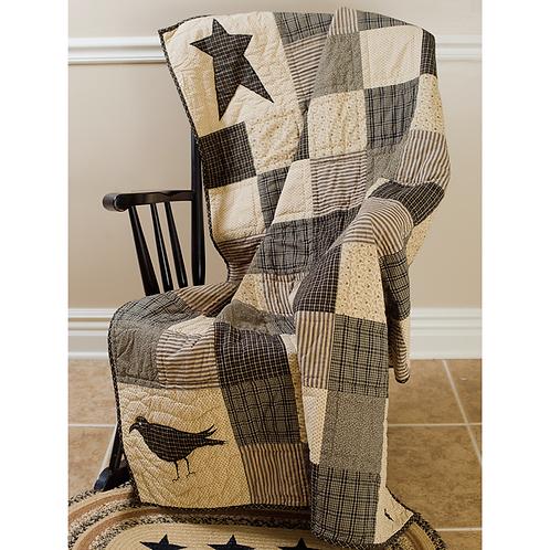 FARMHOUSE KETTLE GROVE CROW AND STAR QUILTED THROW 60 X 50