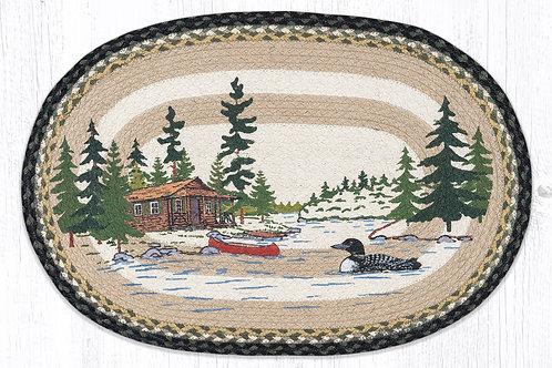 Earth Rug Jute Hand Stenciled Loon on the Lake Cabin Lodge