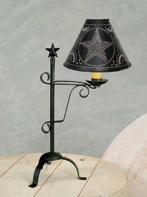 Rustic Primitive Black Star Desk Lamp w/ Shade & Light Bulb