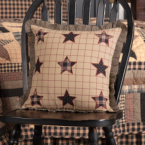 VHC BINGHAM STAR FABRIC PILLOW WITH APPLIQUE STARS 16X16