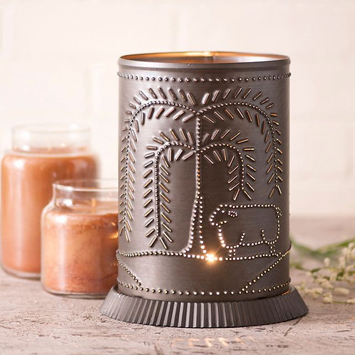 Irvin's Tinware Candle Warmer with Willow and Sheep in Kettle Black Punched Tin
