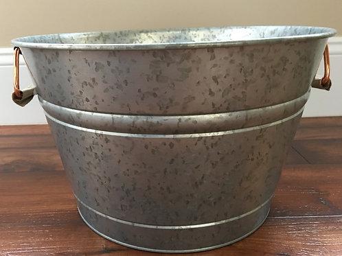 "Country Primitive Galvanized Tub Bucket w/ Handles 15"" x 9"""