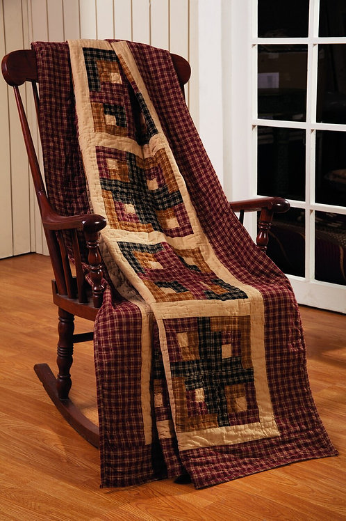 Cambridge Log Cabin Quilted Throw