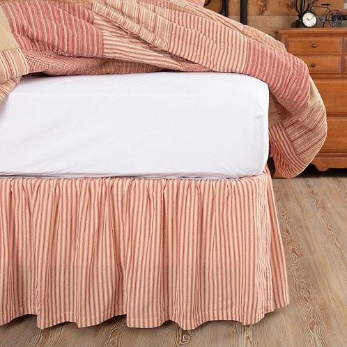 VHC SAWYER MILL RED TICKING STRIPE BED SKIRT