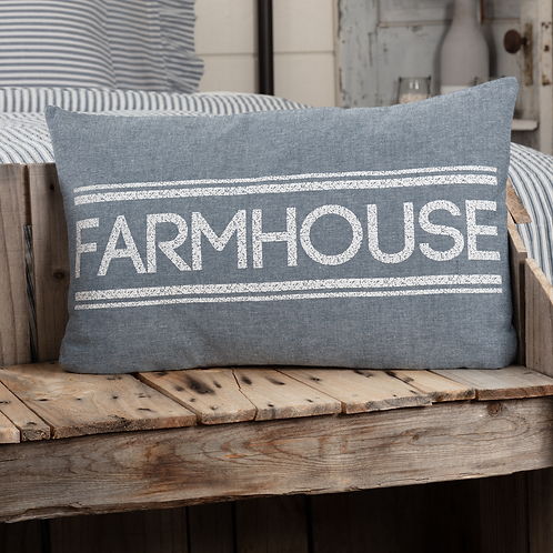 SAWYER MILL FARMHOUSE PILLOW Red or Blue 14 X 22