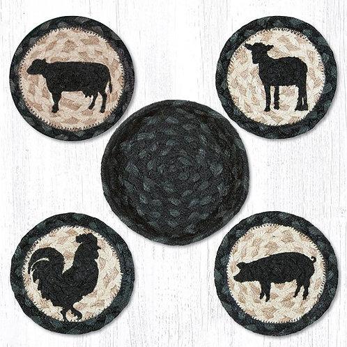 Capital Earth Rugs Braided Coaster in a Basket Barnyard Animals Coaster Set