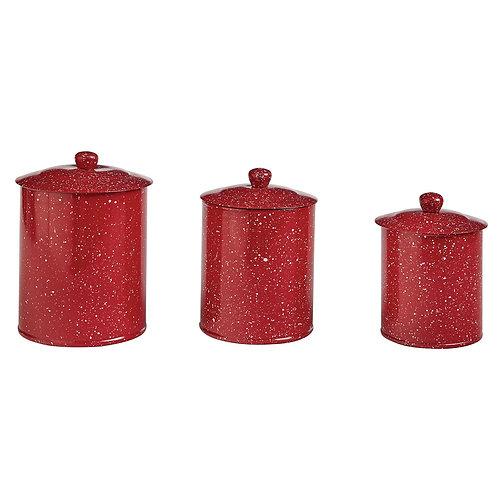 PARK DESIGNS GRANITE ENAMELWARE CANISTERS SET - RED