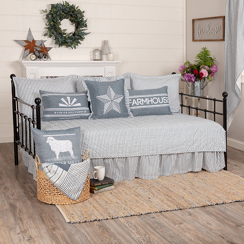 VHC SAWYER MILL TICKING STRIPE 5PC DAYBED QUILT SET Charcoal or Blue