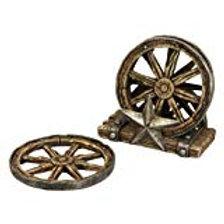 Western Wagon Wheel Coaster Set with Metal Star 4 COASTERS + HOLDER