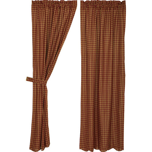 BURGUNDY CHECK SCALLOPED PANEL CURTAIN SET OF 2 84X40