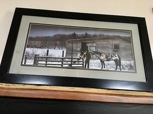 Lighted Framed Running Late With Timer Horse & Barn Picture
