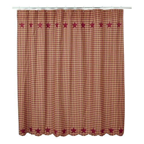 Country Primitive VHC BURGUNDY STAR SCALLOPED SHOWER CURTAIN 72 X 72