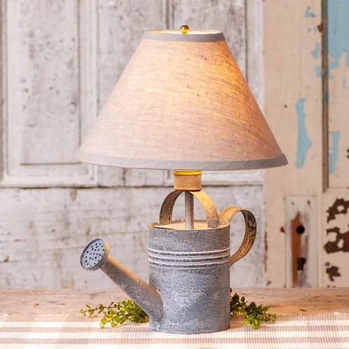 Irvin's Tinware Watering Can Lamp with Ivory Linen Shade