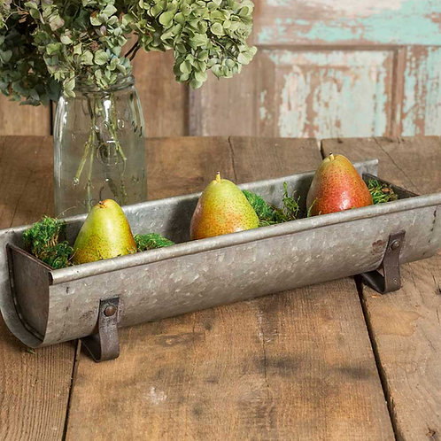 Farmhouse Decor Galvanized Metal Chicken Feeder Tabletop Planter Tray