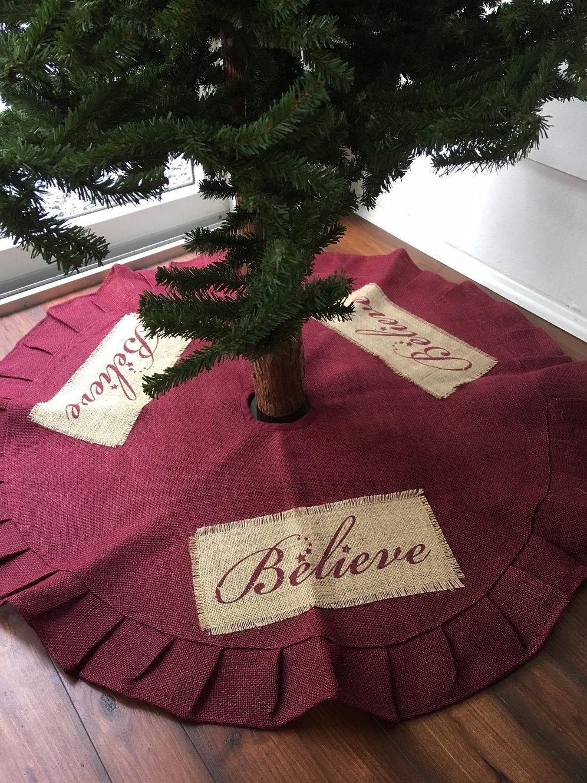 Country Primitive Burlap Christmas Tree Skirt Believe ...