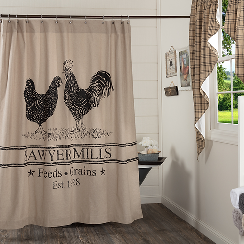 Country Primitive Farmhouse VHC Sawyer Mill Rooster Shower Curtain