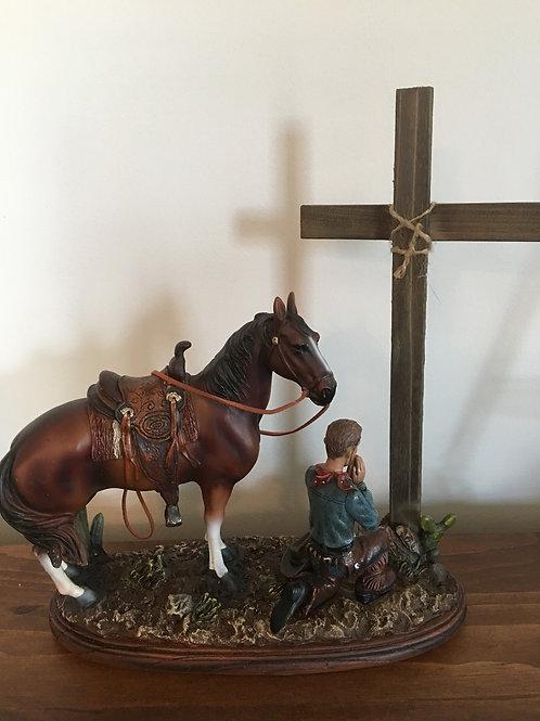 Cowboy & Horse Statue praying at Cross