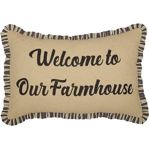 ASHMONT BURLAP VINTAGE WELCOME TO OUR FARMHOUSE PILLOW 14 X 22