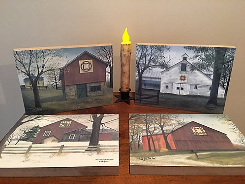 Country Barn w/ Quilts Billy Jacobs Wooden Sign