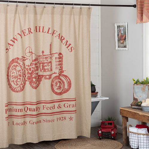 VHC SAWYER MILL RED TRACTOR SHOWER CURTAIN 72X72