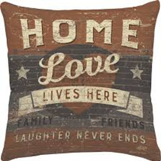 """Primitives by Kathy Pillow Love Lives Here 16"""" square"""