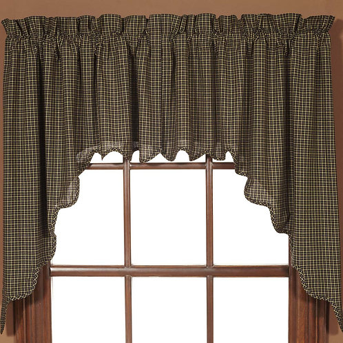 KETTLE GROVE PLAID SWAG CURTAIN SCALLOPED SET OF 2 36X36X16