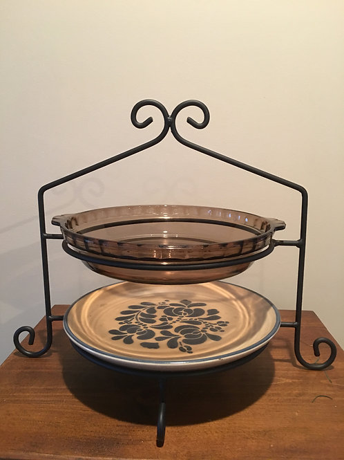 Amish Made Wrought Iron Double Pie Stand