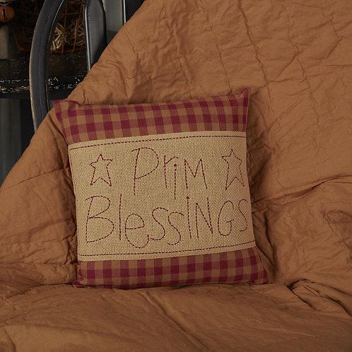 BURGUNDY CHECK PRIM BLESSINGS PILLOW 12 X 12