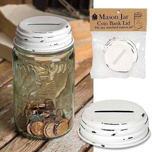 Farmhouse Country Mason Jar Coin Bank Lid - White